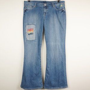 Vanity Jeans Light Wash Flare Hippie Patches Retro